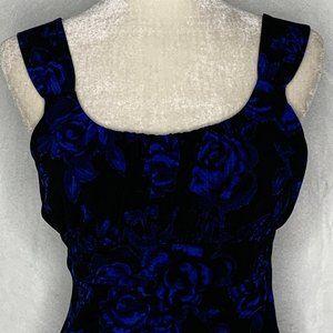Ann Taylor Floral Tank Top Blue Roses 43PE